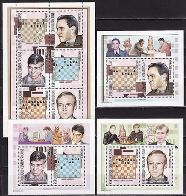CENTRAL AFRICA 2002, Grand Chess Masters 3 s/s blocks + sheetlet
