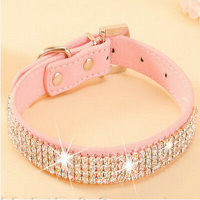 New Leather Rhinestone/ Diamante BLING cat or dog collar in pink Large