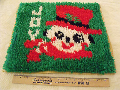 Completed Latch Hook Christmas Pillow Cover Wall Hanging JOY Snowman About 13x15