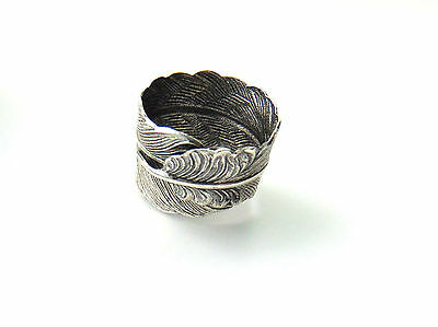 SILVER FEATHER RING - Finger Wrapped Ring - Antique Silver - Boho Gypsy Ring