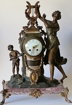 French Lyre Figural Mantel Clock Gilt Bronze Marble Base