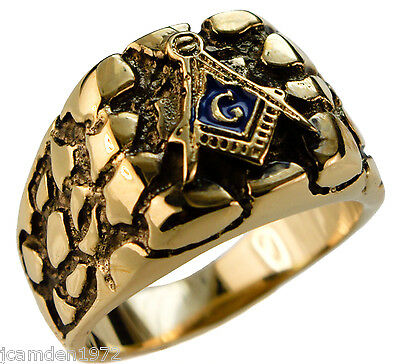 MASONIC NUGGET men's ring 18K yellow gold overlay size 10
