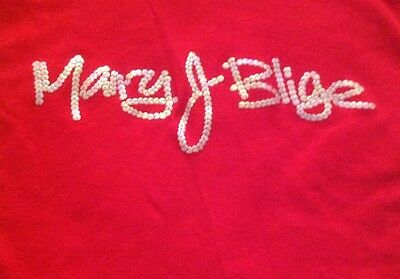 NWOT Mary J Blige Sequin Red T Shirt Fits Size Extra Small Rare Item