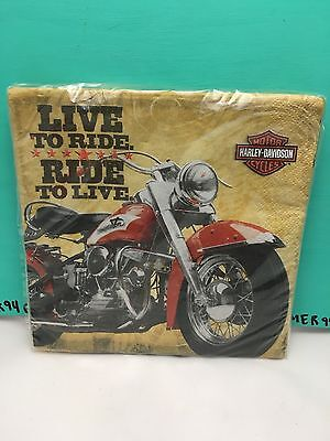 Harley-Davidson Motorcycle Live To Ride - Ride To Live Table Paper Napkins