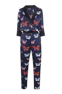 Wallis Butterfly Print Jumpsuit Weddig/Special Occassion 10  Blue/Multi