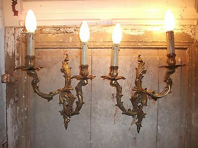 French a pair of patina bronze wall light sconces beautiful vintage
