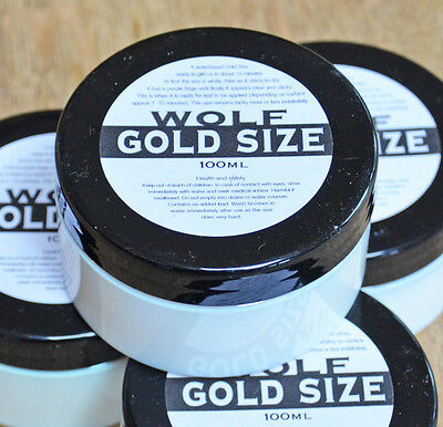 Gold Size for Metal Leaf adhesive acrylic size 100ml Aluminium Brass Copper Leaf