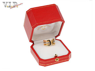CARTIER C-LOGO TRINITY BAND RING BAGUE 18K/750 TRICOLOR GOLD Gr.52 +ORIGINAL BOX