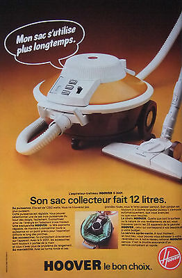 Publicité De Presse 1977 - Aspirateur Traineau Hoover S 3001 - Advertising