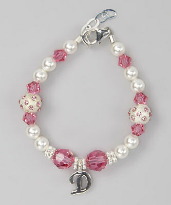 Personalized Swarovski White Pearls, Pink Crystals with Initial Bracelet