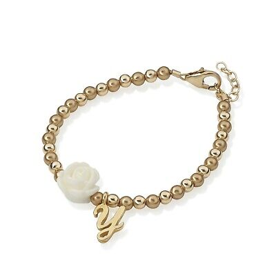 14kt Gold Filled Beads With White Flower Bead and Gold Filled Initial Beaded Bra