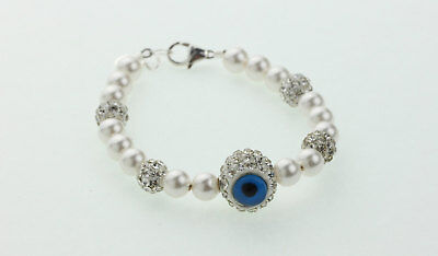 White Pearls With Sparkly Beads and Hamsa/ Chamsa Bead Bracelet