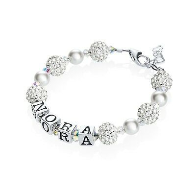 White Personalized Sterling Silver Name Bracelet