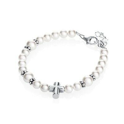 Sterling Silver Cross Bead Bracelet with Swarovski White Pearls