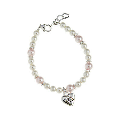 Pink and White Pearls with Big/Little Sister Charm Bracelet