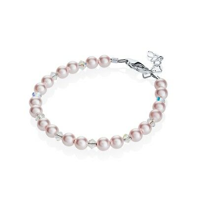 Baby Bracelet Beaded with Pink Pearls and Clear Swarovski Crystals
