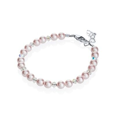Pink Pearls and Clear Swarovski Crystals Beaded Bracelet