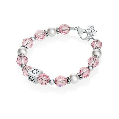 Pink Crystals and White Pearls with Sterling Silver Star of David Bracelet