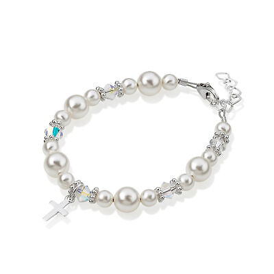 Sterling Silver Cross Charm Bracelet with Two Sizes White Pearls, Swarovski Clea