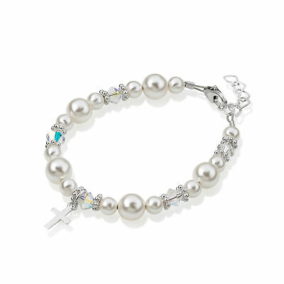 Two Sizes Swarovski White Pearls and Clear Crystals with Sterling Silver Cross C