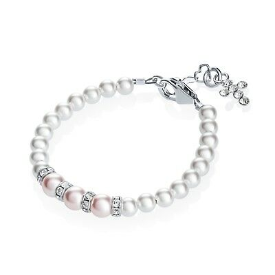 Pink and White Pearls with Sterling Silver Rondelle and Cross Bracelet