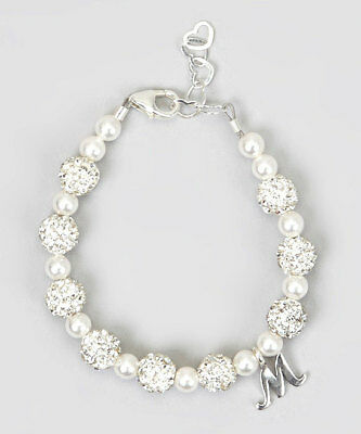 White Pave Beads & Swarovski Pearls with Sterling Silver Script Initial Bracelet