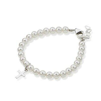 White Pearls with Sterling Silver Cross Charm Bracelet