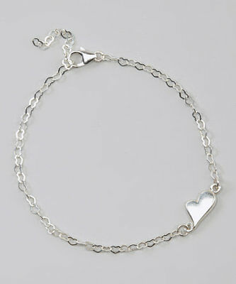 Sterling Silver Heart Chain with Sterling Silver Fallen Heart Link Ankle Bracele