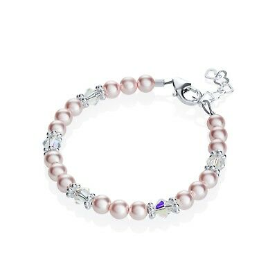 Swarovski Pink Pearls and Clear Crystals with Sterling Silver Daisy Spacers Brac
