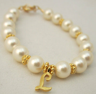 White Pearl with Gold Initial Charm Personalized Bracelet