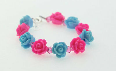 Baby Bracelet with Hot Pink and Blue Flower Beads with Pink Swarovski Crystals