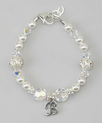 Sterling Silver Initial Personalized Bracelet with Swarovski White Pearls and Cl