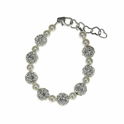 Baby Bracelet with White Swarovski Pearls and Pave Beads