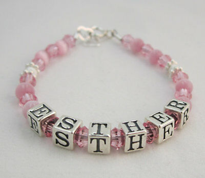 Pink Cats Eye Beads with Pink Crystals and Sterling Silver Personalized Name Bra