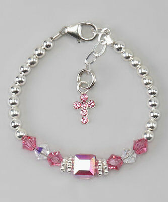 Baby Bracelet with Sterling Silver beads with Pink and clear Swarovski Crystals