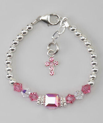 Sterling Silver beads with Pink and clear Swarovski Crystals and Hot Pink Cross