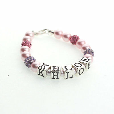 Sterling Silver Personalized Name Bracelet with Swarovski Pink Pearls with Pave