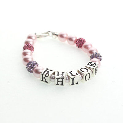 Swarovski Pink Pearls with Pave Beads Sterling Silver Personalized Name Bracelet