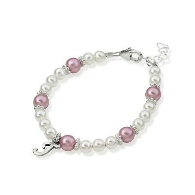 Swarovski White and Rose Pearls with Personalized Sterling Silver Script Initial