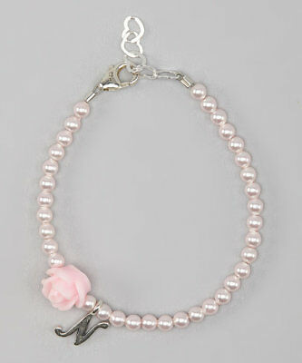 Swarovski Pink Pearls and Pink Flower Bead with Personalized Sterling Silver Scr