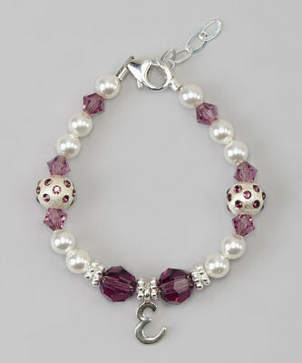 Swarovski Pearls and Purple Crystals with Personalized Sterling Silver Bracelet