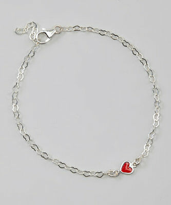 Sterling Silver Heart Chain with Sterling Silver Red Enamel Heart Link Ankle Bra