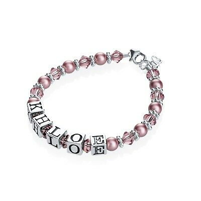 Personalized Name Bracelet with Swarovski Purple Pearls and Crystals