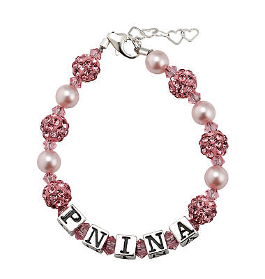 Personalized Name Bracelet with Swarovski Pink Pearls Crystals and Pave beads