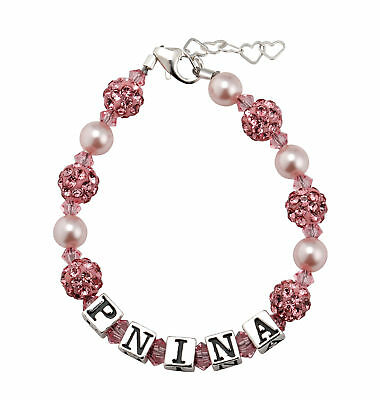 Swarovski Pink Pearls Crystals and Pave beads Personalized Name Bracelet