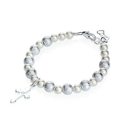 Baby Bracelet with Swarovski White Pearls and Pave Beads Cross Charm