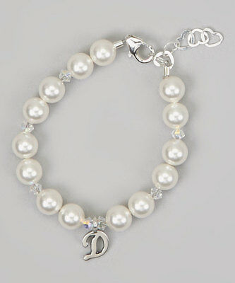 Personalized Sterling Silver Script Initial Bracelet with Swarovski White Pearls