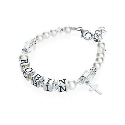 Personalized Name Bracelet with Cross Charm and Swarovski White Pearls and Clear
