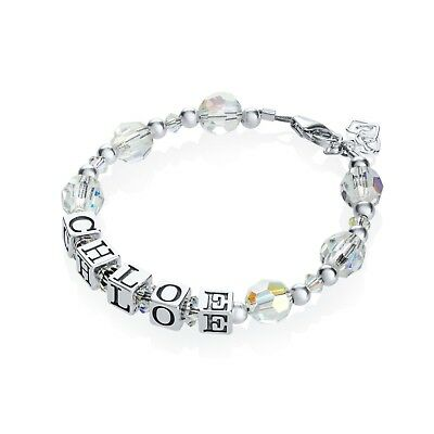 Personalized Name Bracelet with Swarovski Clear Crystals and Sterling Silver Bea