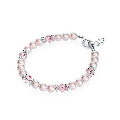 Baby Bracelet with Swarovski Pink Pearls and Crystals with Sterling Silver Daisy
